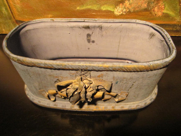 Folk Art Blue Chalk Ware Jardiniere Decorated Gold Ribbon - Designer Unique Finds   - 4