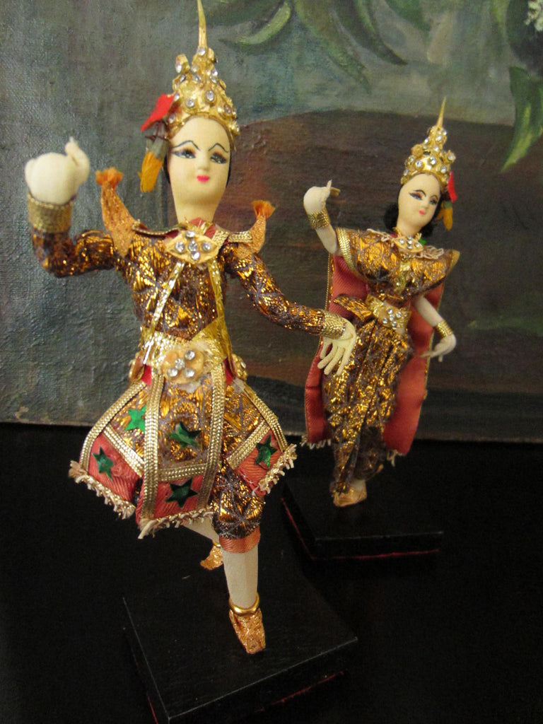 Siamese Twin Dancers Tribal Figurines Colorful Gilt Rhinestones - Designer Unique Finds   - 1