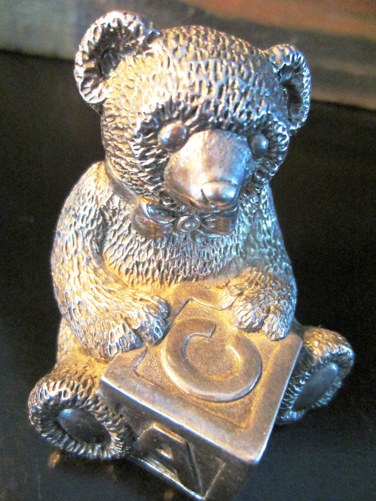 reed and barton pewter teddy bear music box abc hand winding