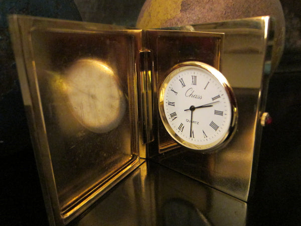 Chass Brass Folding Desk Clock Picture Frame Japan Movement - Designer Unique Finds   - 3