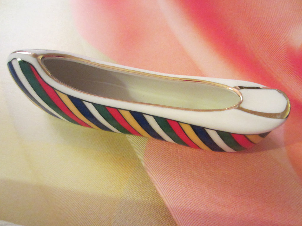Porcelain Shoe Gilt Decorated Stripes Painted Ashtray Signed Dated 1942 - Designer Unique Finds