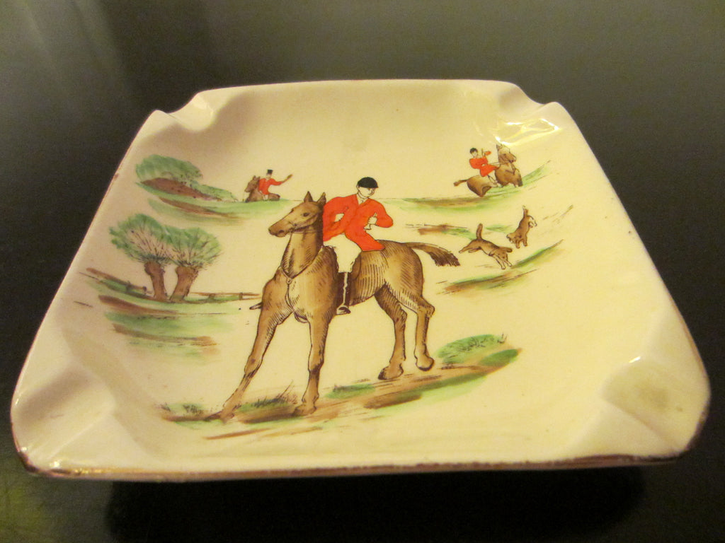 Empire Ware Stoke On Trent England Hunting Scene Signed Ashtray - Designer Unique Finds   - 1