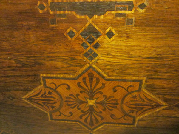 Antique French Library Table Walnut Marquetry Geometric Rolling Finial - Designer Unique Finds   - 2