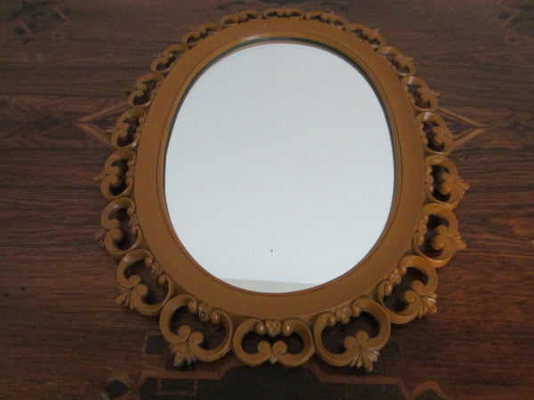 Syroco Wood Mid Century Oval Mirror Open Work Scrolled Decoration - Designer Unique Finds   - 1