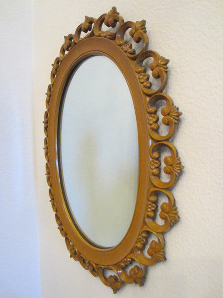 Syroco Wood Mid Century Oval Mirror Open Work Scrolled Decoration - Designer Unique Finds   - 3