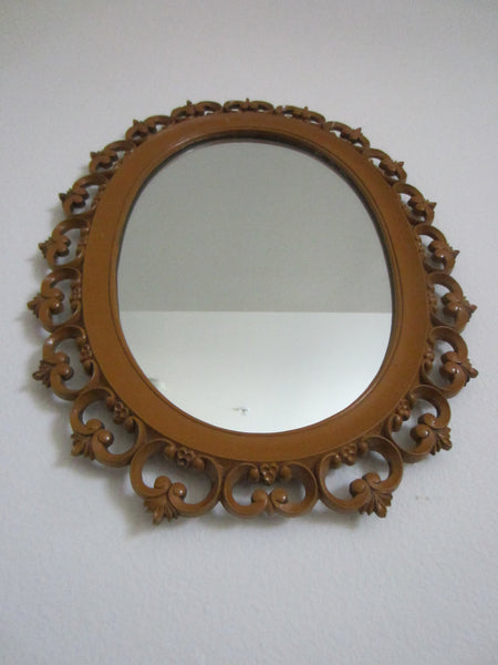 Syroco Wood Mid Century Oval Mirror Open Work Scrolled Decoration - Designer Unique Finds   - 8