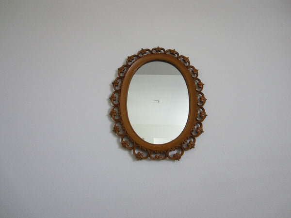 Syroco Wood Mid Century Oval Mirror Open Work Scrolled Decoration - Designer Unique Finds   - 2