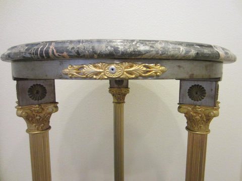 Rococo Bronze Pedestal Stand Tiered Stone Top Medallion Gilt Decorated English Paws - Designer Unique Finds   - 1