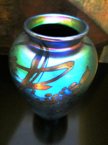 Iridescent Abstract Glass Vase Signed by Artist Don Richardson Numbered Dated - Designer Unique Finds