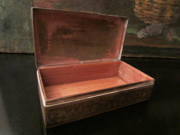 Folk Art Brass Humidor Cigar Box Hand Colored Etched Flowers - Designer Unique Finds   - 5