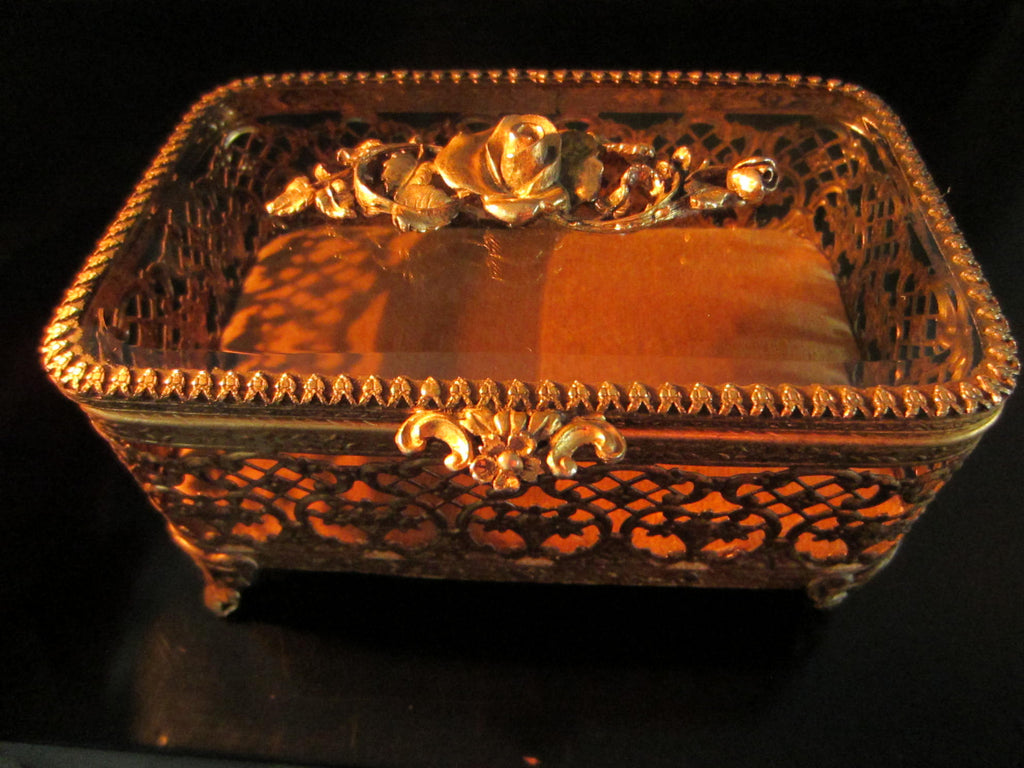 Matson Brass Filigree Beveled Glass Decorated Roses Jewelry Box - Designer Unique Finds   - 1