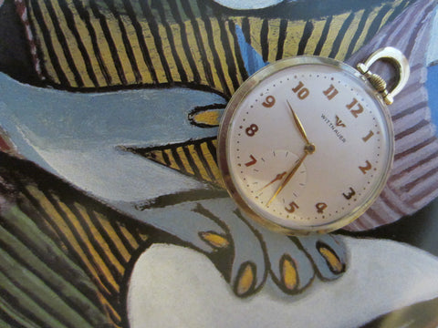 Wittnauer Swiss Pocket Watch Open Face Gold Plated - Designer Unique Finds   - 1
