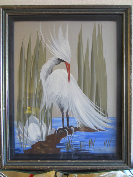 M Devoe Watercolor Snowy Egret Flamingo Exotic Art - Designer Unique Finds