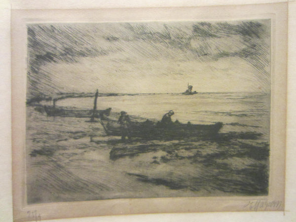 Harbor View Black Drawing Signed Marine Art Limited Edition - Designer Unique Finds