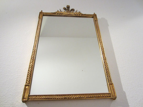 Rococo Style Gold Leaf Crown Crest Wall Mirror