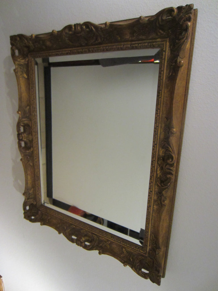 Art Deco Continental Mirror Gilt Wood Vintage Floral Decoration - Designer Unique Finds