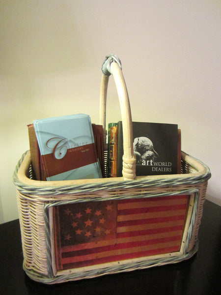 Mid Century Folk Art American Flag Basket Hand Painted - Designer Unique Finds   - 3