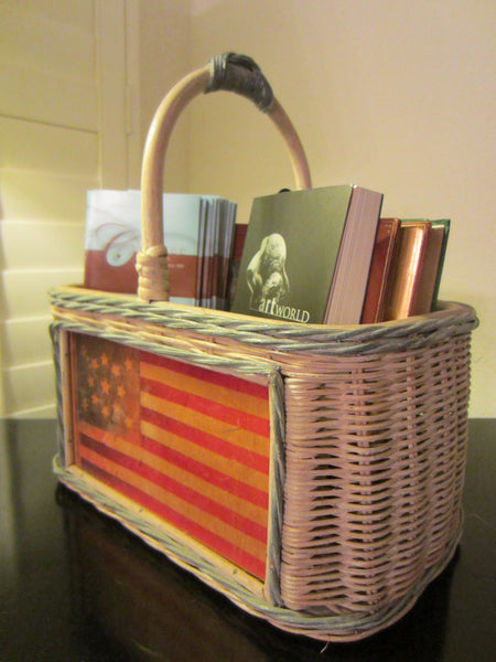 Mid Century Folk Art American Flag Basket Hand Painted - Designer Unique Finds   - 2