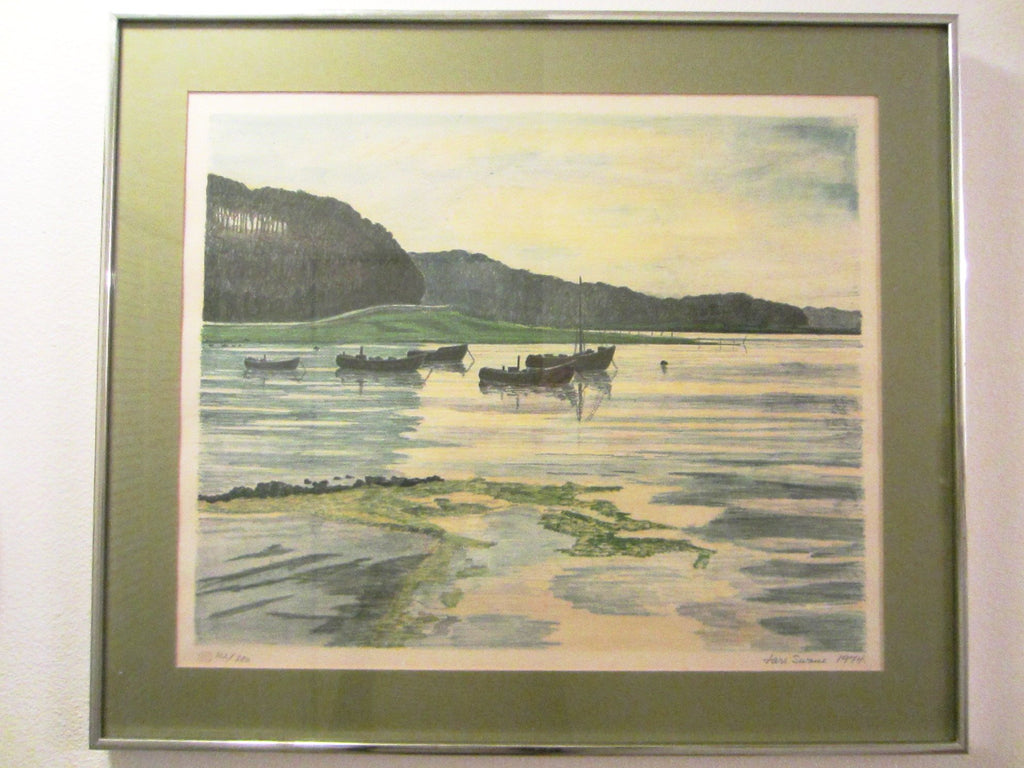 Lars Swane Danish Mid Century Seascape Signed Dated Numbered Stamp Proof - Designer Unique Finds