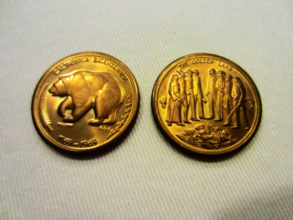 California Bicentennial Coins The Golden Land Mid Century Medals - Designer Unique Finds   - 1