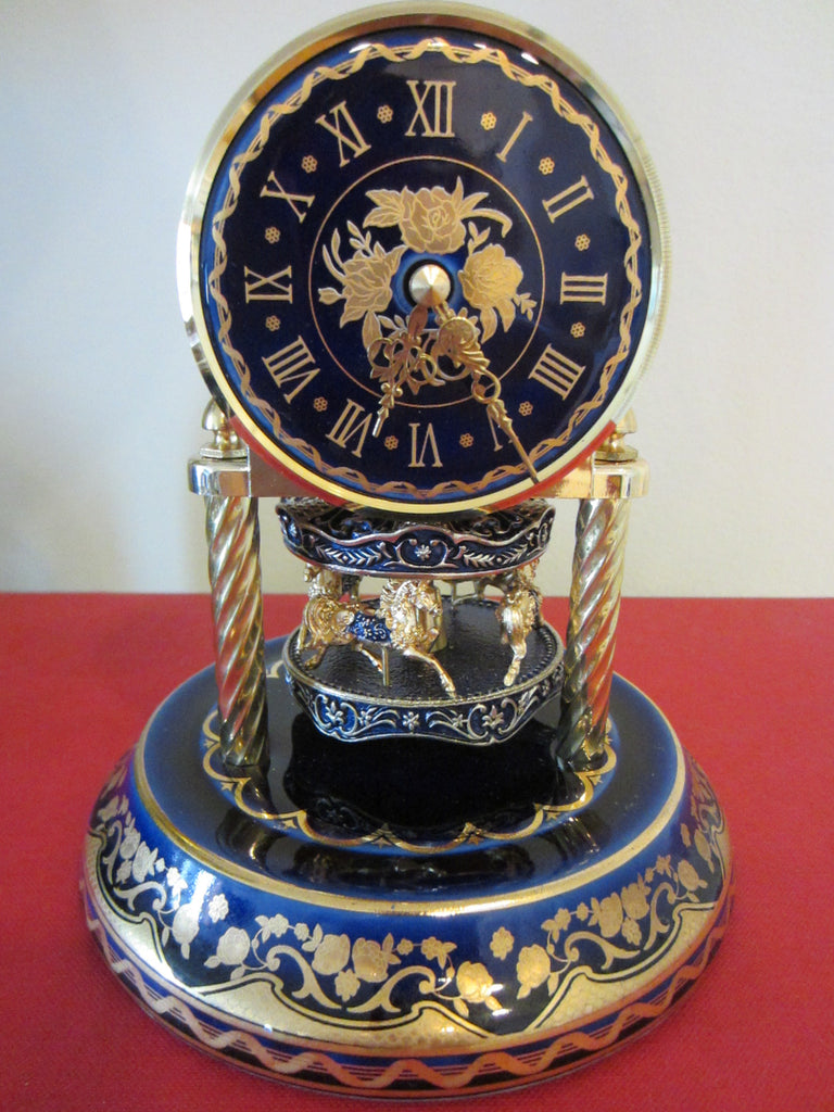 Cobalt Porcelain Brass Horses Anniversary Carousel Clock Glass Dome - Designer Unique Finds
