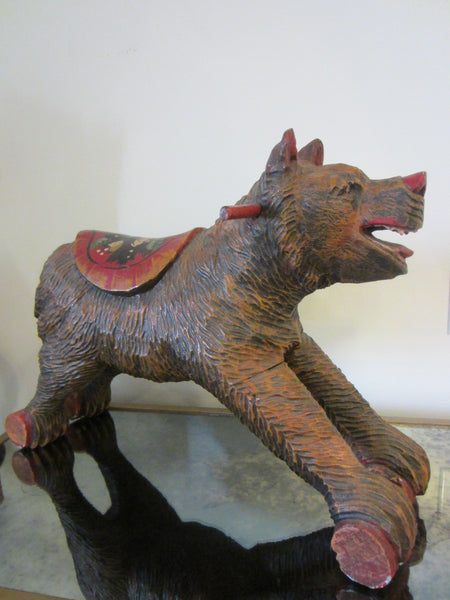 Black Forest Wood Carving Boar Toy Sculpture Hand Painted Floral Decoration - Designer Unique Finds   - 3