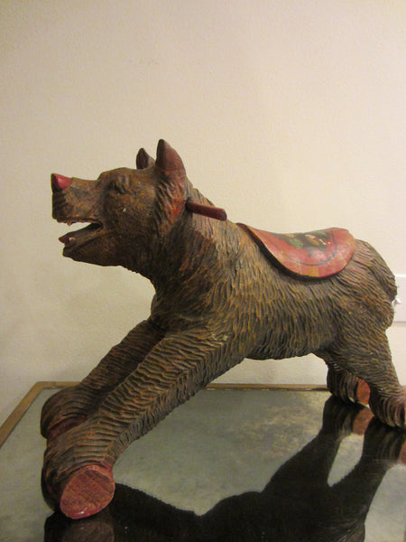 Black Forest Wood Carving Boar Toy Sculpture Hand Painted Floral Decoration - Designer Unique Finds   - 4