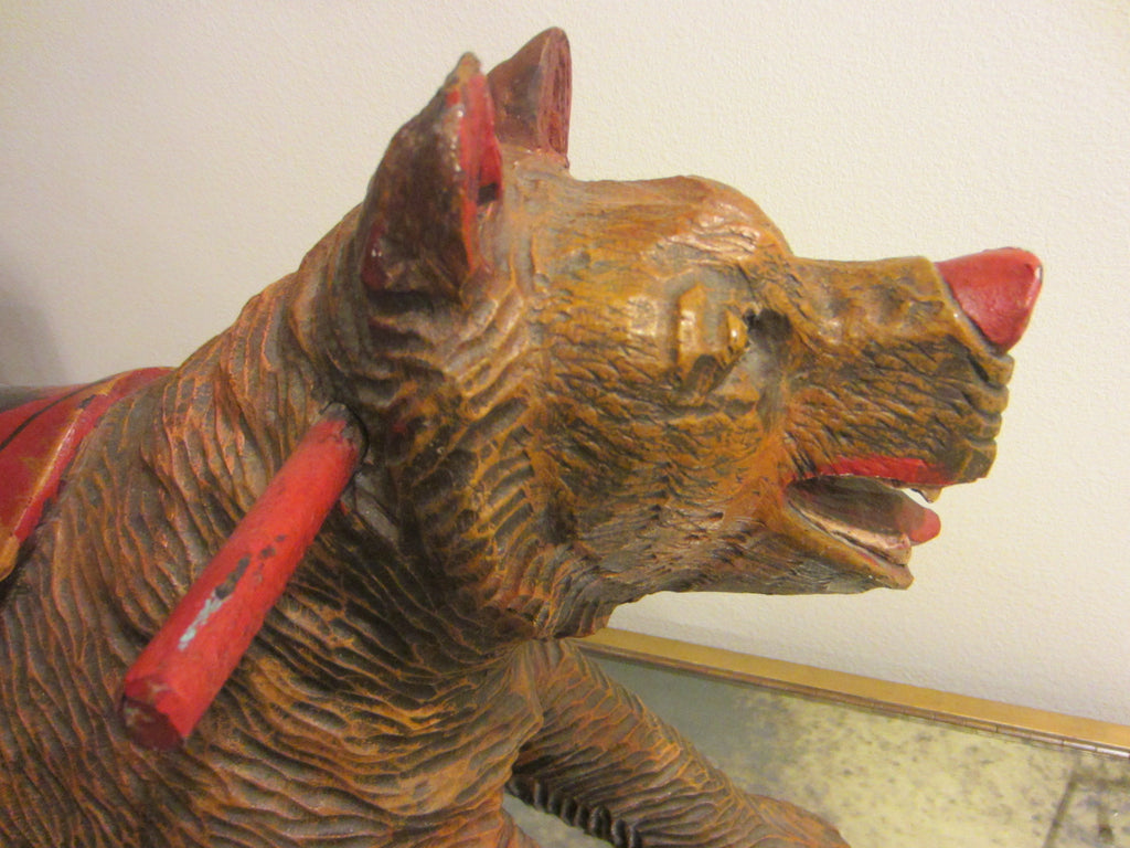 Black Forest Wood Carving Boar Toy Sculpture Hand Painted Floral Decoration - Designer Unique Finds   - 2