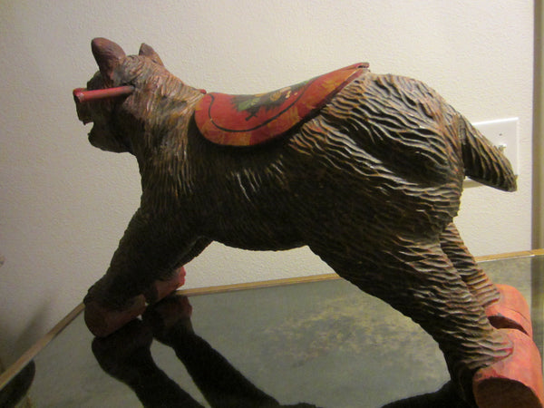 Black Forest Wood Carving Boar Toy Sculpture Hand Painted Floral Decoration - Designer Unique Finds   - 1