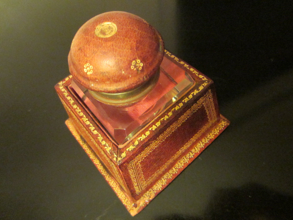 Italian Crystal Inkwell Emboss Leather Covered Case Stand - Designer Unique Finds   - 1