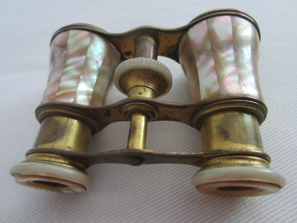 Opera Binocular Parisian Style W Mother of Pearl Brass Frame - Designer Unique Finds   - 1