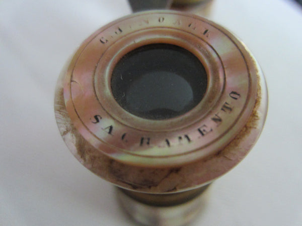 Opera Binocular Parisian Style W Mother of Pearl Brass Frame - Designer Unique Finds   - 4