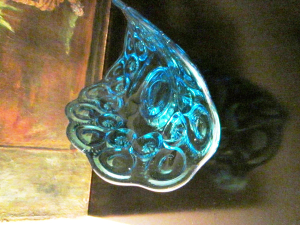 Le Smith Blue Glass Pedestal Boat Bowl Stars And Moon - Designer Unique Finds