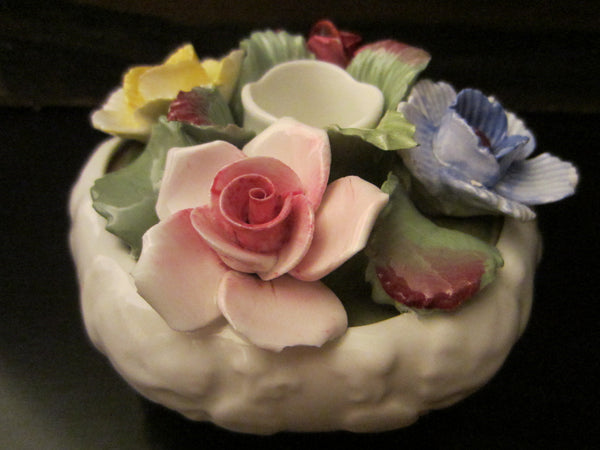 Aynsley England Fine Bone China Candle Holder With Roses - Designer Unique Finds   - 2