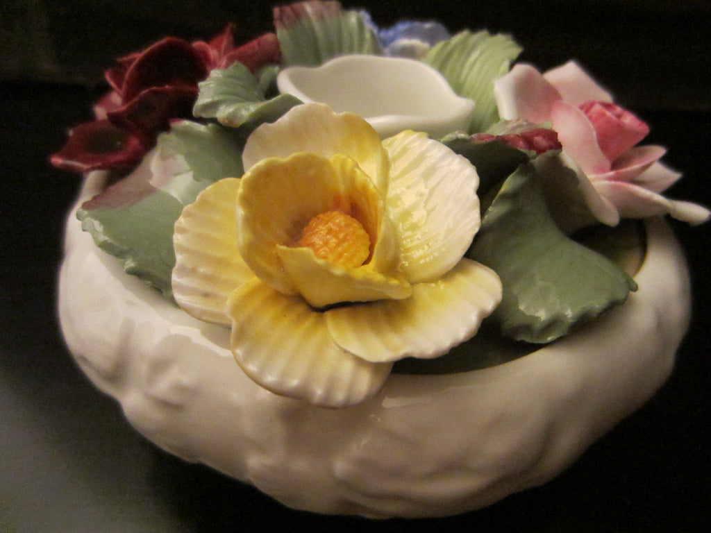 Aynsley England Fine Bone China Candle Holder With Roses - Designer Unique Finds   - 1