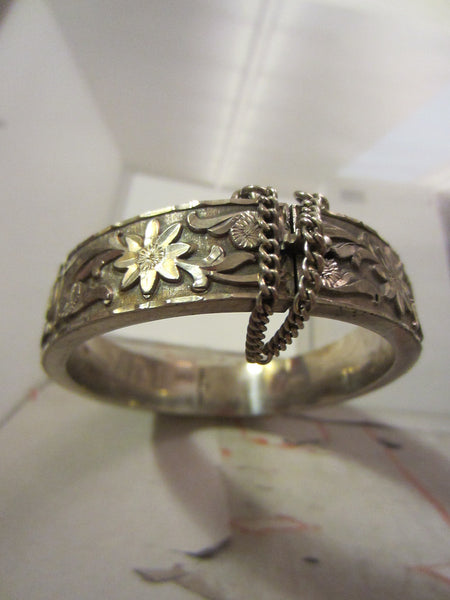Sterling Bangle Bracelet Floral Etching Signed - Designer Unique Finds   - 3