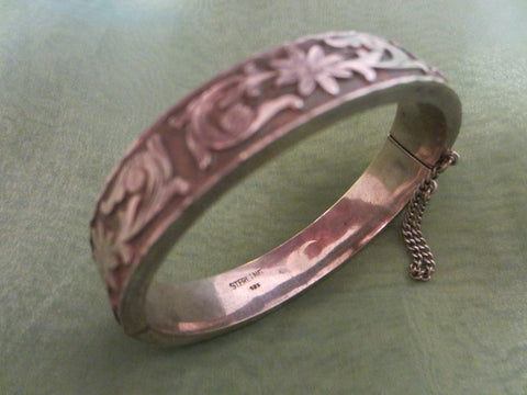 Sterling Bangle Bracelet Floral Etching Signed - Designer Unique Finds   - 1