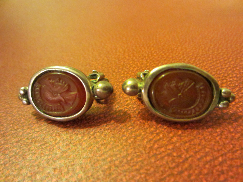 Silver Earrings Cameo Clip With Hallmarks - Designer Unique Finds