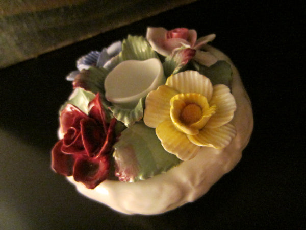 Aynsley England Fine Bone China Spring Flowers Candle Holder Hand Painted Marked
