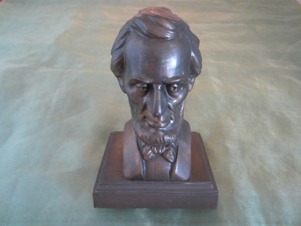 President Abraham Lincoln Bronze Bust Portrait Mahogany Stand - Designer Unique Finds   - 1