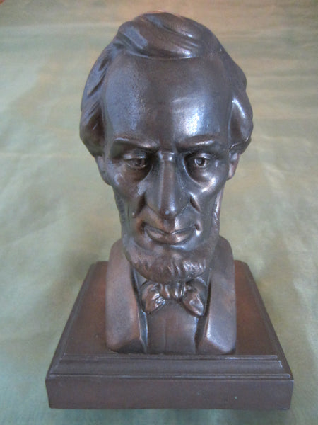 President Abraham Lincoln Bronze Bust Portrait Mahogany Stand - Designer Unique Finds   - 3