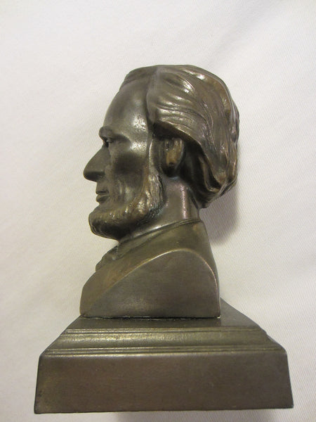 President Abraham Lincoln Bronze Bust Portrait Mahogany Stand - Designer Unique Finds   - 4