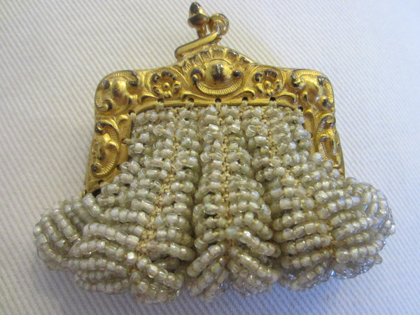 Bostonia Coin Silhuette Purse Pendant Gold Plated Marked Ger Silver - Designer Unique Finds   - 3