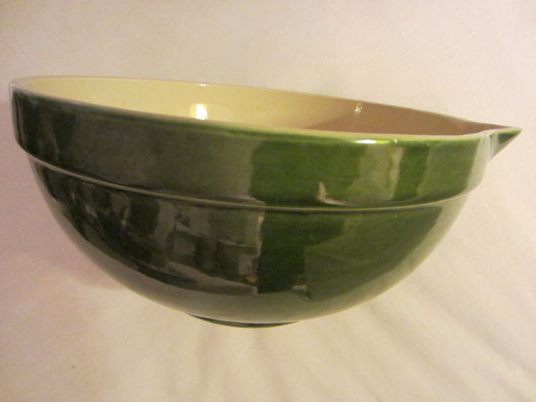 Green Ceramic Mixing Bowl Folk Art Pottery White Interior - Designer Unique Finds