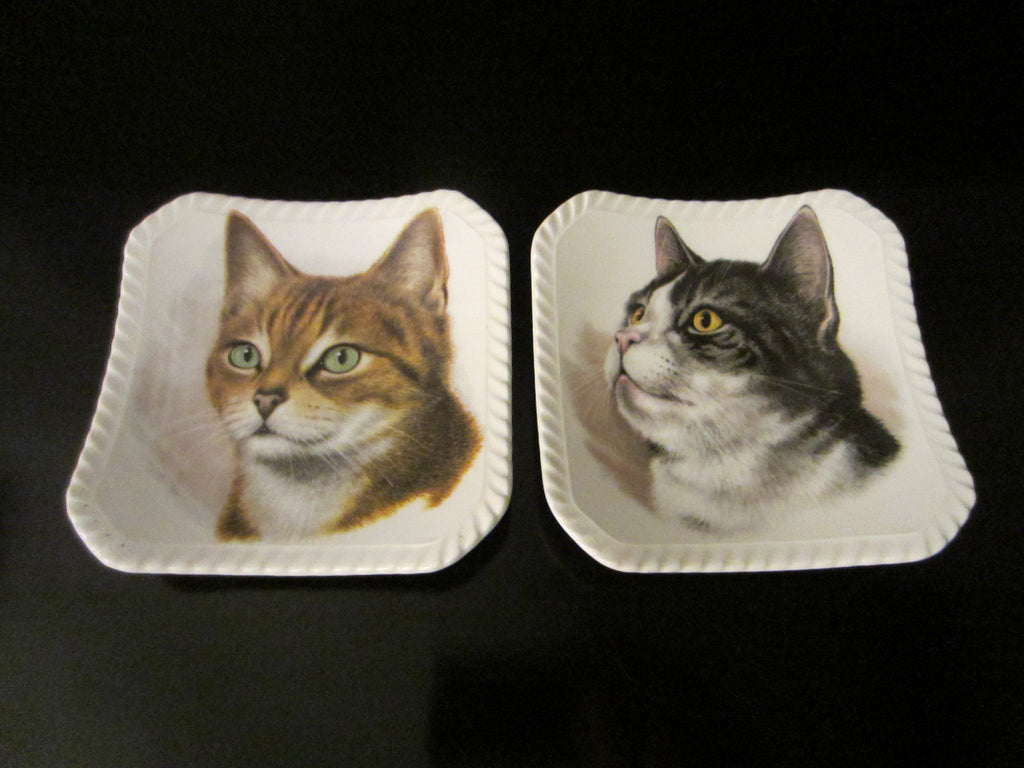 Royal Adderley Floral Bone China England Cats Portraits Decorative Trays - Designer Unique Finds