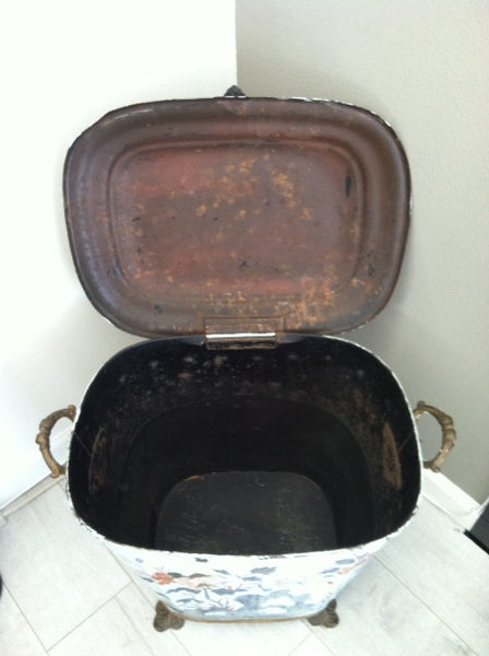 French Tole Coal Container Bronze Hand Footed Purdonium - Designer Unique Finds   - 4