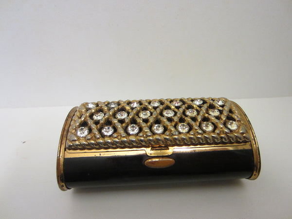 Black Enameled Mid Century Metal Rhinestones Cased Compact - Designer Unique Finds   - 1