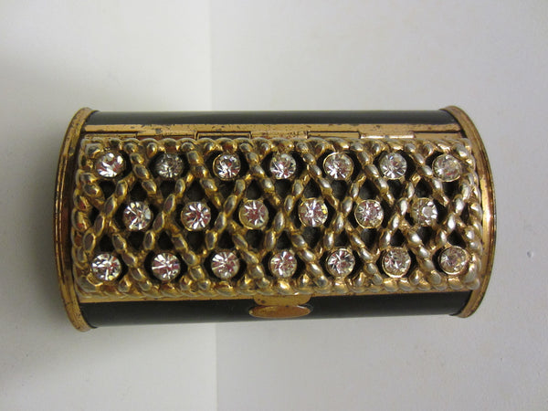 Black Enameled Mid Century Metal Rhinestones Cased Compact - Designer Unique Finds   - 5