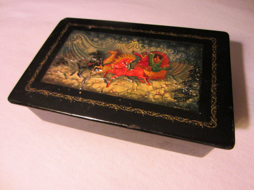 Russian Black Lacquer Jewelry Box Hand Decorated Signed The Troika School of Kholui - Designer Unique Finds   - 1