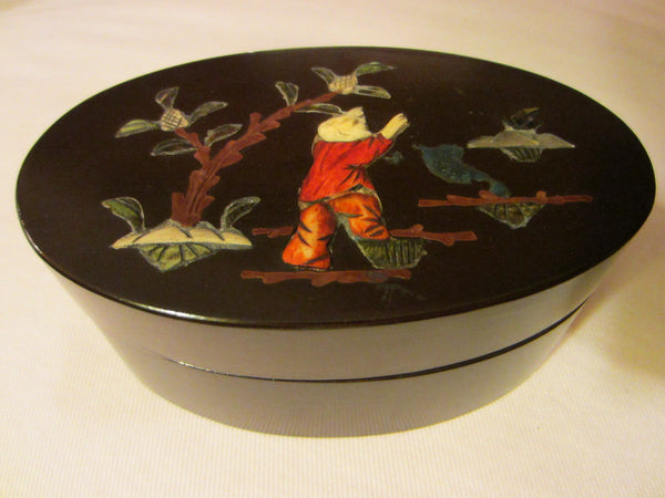 Mahogany Oval Box Applied Japanese Inlaid Character - Designer Unique Finds